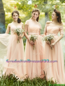 Beautiful Floor Length Tulle Graduation Dresses in Peach