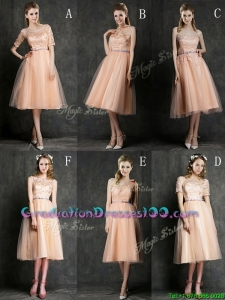 Best Selling Sashed Peach Graduation Dresses in Knee Length