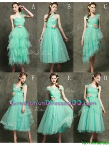 Exclusive Hand Made Flowers Ankle Length Graduation Dresses in Apple Green