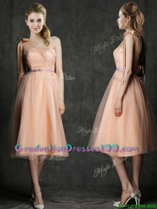 Wonderful One Shoulder Graduation Dresses with Sashes and Bowknot