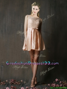 Best Selling Laced and Belted Short Graduation Dresses in Peach