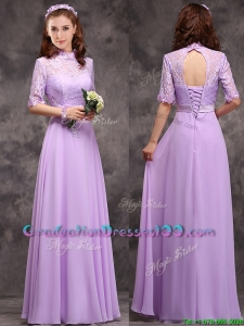 Perfect High Neck Handcrafted Flowers Graduation Dresses with Half Sleeves