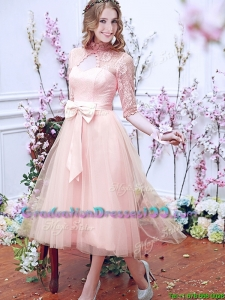 See Through High Neck Half Sleeves Graduation Dresses with Bowknot