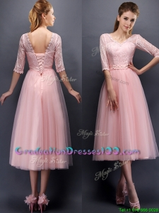 See Through V Neck Half Sleeves Graduation Dresses with Lace and Belt