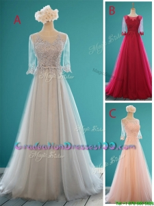 See Through Scoop Half Sleeves Graduation Dresses with Appliques and Belt