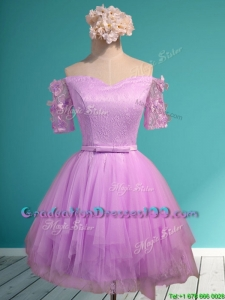 Sweet Lilac Off the Shoulder Short Sleeves Graduation Dresses with Appliques and Belt