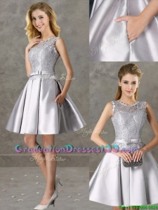 Classical Laced and Bowknot Scoop Graduation Dresses in Silver