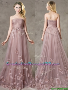 Classical Strapless Brush Train Graduation Dresses with Appliques