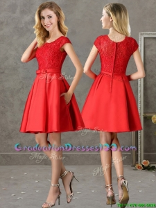 Gorgeous Scoop Cap Sleeves Red Graduation Dresses with Lace and Bowknot