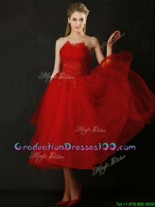 Elegant Tea Length Applique Red Graduation Dresses with Asymmetrical Neckline