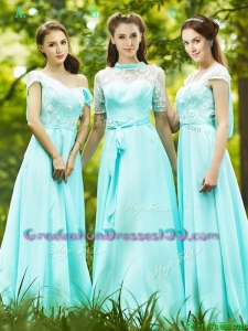 Lovely Chiffon Empire Long Graduation Dresses in Apple Green