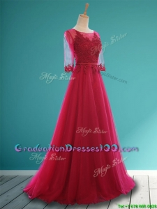 Cheap Scoop Appliques and Belt Graduation Dresses in Wine Red