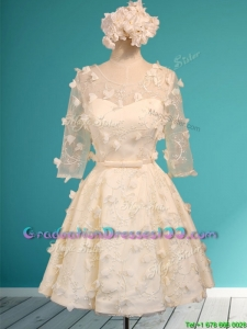 Discount Scoop Half Sleeves Champagne Graduation Dresses with Appliques and Belt