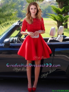 Exquisite Laced Scoop Half Sleeves Graduation Dresses in Red