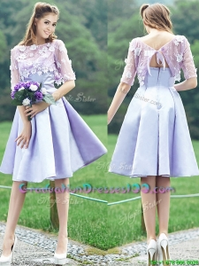 New Style Bateau Half Sleeves Lavender Graduation Dresses with Appliques