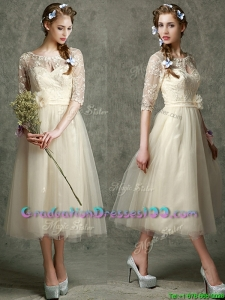 See Through Scoop Half Sleeves Graduation Dresses with Hand Made Flowers and Lace