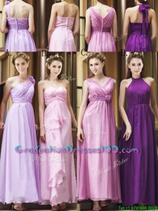 Classical Empire Ruched Chiffon Zipper Up Graduation Dresses in Ankle Length