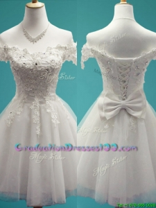 Gorgeous White Off the Shoulder Cap Sleeves Graduation Dresses with Beading and Bowknot