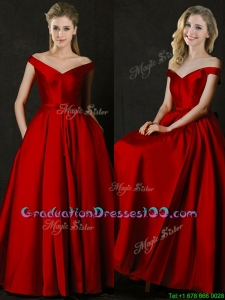 Latest Bowknot Wine Red Long Graduation Dresses with Off the Shoulder