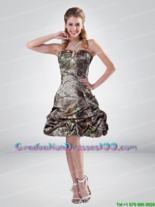 2015 Perfect A Line Strapless Camo Graduation Dresses with Beading