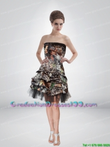 Artistic 2015 Short Strapless Camo Graduation Dresses