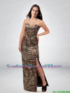 Discount Column Sweetheart Camo Graduation Dresses with High Slit