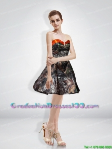 New Style A Line Sweetheart Beading Camo Graduation Dresses with Knee-length