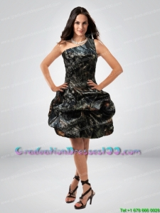 Perfect Ball Gown One Shoulder Camo Graduation Dresses with Belt