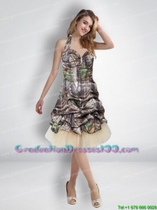 Sexy 2015 Short Halter Top Camo Graduation Dresses with Knee Length
