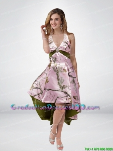 2015 Beautiful Multi Color High Low Camo Graduation Dresses with Sashes