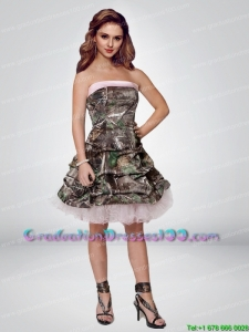 2015 Perfect Short Strapless Camo Graduation Dresses with Ruching