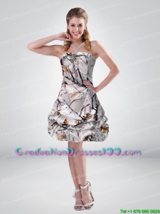 2015 Short Strapless Mini length Camo Graduation Dresses with Ruching
