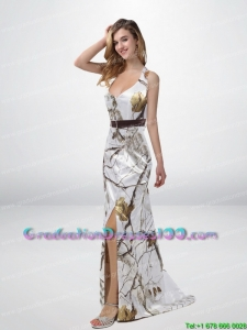 Classical Column Halter Top Camo Graduation Dresses with Sashes