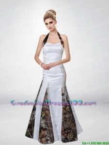 Mermaid Halter Top Romantic Camo Graduation Dresses with Ruching