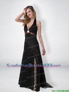 Simple Empire Halter Top Beaded Camo Graduation Dresses with Brush Train
