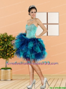 2015 New Style Beading and Ruffles Sweetheart Beautiful Graduation Dresses in Multi Color