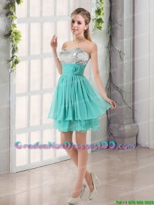 Sweetheart A Line Best Selling Graduation Dress with Sequins and Handle Made Flowers