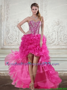 2015 Hot Pink High Low Sweetheart Classical Graduation Dresses with Beading and Ruffled Layers