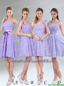 Cute Lavender Princess Mini Length Graduation Dresses with Ruching