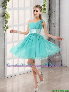 Cute and Natural One Shoulder A Line Ruching Lace Up Graduation Dresses