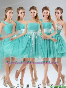 2015 Elegant A Line Ruching Lace Up Graduation Dresses in Aqua Blue