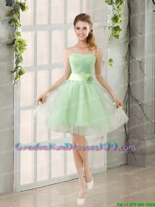 A Line Sweetheart Lace Up Juniors Graduation Dresses in Apple Green
