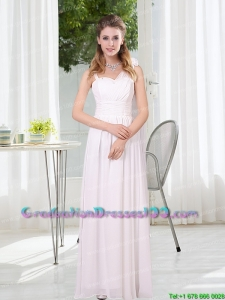 2015 Most Popular White Empire Ruching Graduation Dresses with Asymmetrical