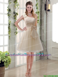 2015 One Shoulder Bowknot Lace Most Popular Graduation Dresses in Champagne