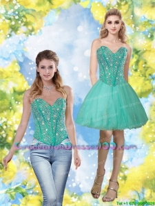 Most Popular 2015 Beading and Appliques Sweetheart Graduation Dress in Turquoise