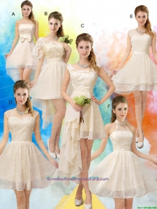 Most Popular Champagne Chiffon Lace Up Graduation Dress for 2015