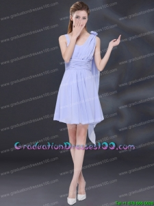 Most Popular Chiffon Ruching 2015 Lavender Graduation Dress with One Shoulder
