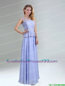 Most Popular Lavender Belt and Lace Empire 2015 Graduation Dress with Bateau