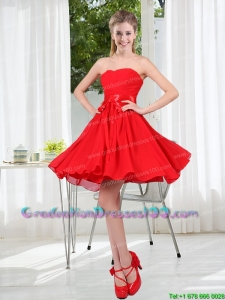 Most Popular Ruching Strapless A Line Graduation Dresses for 2015