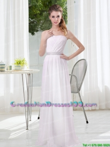 2015 Modest Empire Ruching Graduation Dresses in White